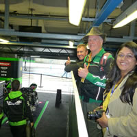 Inside the Kawasaki garage in our private viewing platform