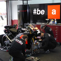 Inside the Aprilia Gresini garage during the testing at Valencia